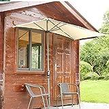JLXJ Parasol Demi-Rectangle Parasol de Patio, Contre Le Mur Ombrelle, 2,5 × 1,3 M Protection UV Parapluies de Table, pour Balcon Mural Pare-Soleil de Fenêtre
