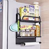 PEALOV Etagere Refrigerateur Magnetique,Support à éPices MagnéTique Avec 4 Crochets Sans PerçAge,éTagèRe LatéRale Pour RéFrigéRateur à 2 Niveaux,Etagere Refrigerateur Universelle Frigo ÉTagèRe ÉPices