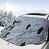 AEMAPE Corbeau Noir avec Couverture de Pare-Brise Corbeau Couverture de Neige Avant Pare-Soleil Pliable Protecteur d'ombrage adapté à la Plupart des camions de Voiture SUV à l'extérieur