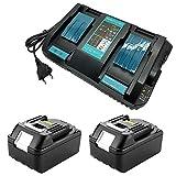 Chargeur à double canal 4 A avec 2 unités 18 V 4 Ah Batterie au lithium Remplace la radio de chantier Makita DMR110 Coupe-bordures DUR181Z Perceuse-visseuse DHP482Z Aspirateur DCL182Z