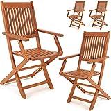 Set de 4 chaises de jardin pliantes 'Sydney' en bois d'acacia certifié FSC pour salon de jardin sydney accoudoirs extérieur pliable chaise de table de jardin pré-huilé balcon terrasse