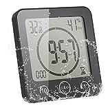 ALLOMN Horloge de Salle de Bain, Alarme Numérique LCD avec Horloge de Douche Tactile étanche, Humidité de la Température, Compte à Rebours, 3 Méthodes de Montage, Alimentation par Batterie (Noir)