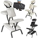 TecTake Chaise de Massage avec Sac de Transport - diverses couleurs au choix - (Blanc)