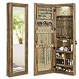 SRIWATANA Armoire à bijoux suspendue avec miroir en bois massif - Organiseur de bijoux avec lumière LED - Montage mural ou porte