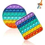 2 Packs Pop It Fidget Toy Rainbow, Pop Bubble fidget Toys, fidget pop it geant fijet toy popit Jeux Pas Cher Jouets, poppit figette Anti Stress, Sensory Toys pour les enfants/adultes (Round, Square)