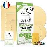 Loomy Bee Wrap ou Emballage Cire d'abeille Réutilisable - Lot de 6 - Film Alimentaire Réutilisable écologique, Lavable et zéro déchet - Cadeau Ecolo - Beewrap Made in France (Écru Naturel)