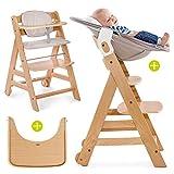Hauck Beta Plus Newborn Set - Chaise Haute Bébé Évolutive Escalier dès naissance/Inclus Transat pour nouveau-né, Coussin assise, Tablette - hauteur réglable, Bois Clair Natur/Beige