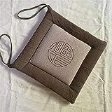 YDDM Simple Coton et Lin Coussin d'assise Tie DesignRespirant galettes de Chaise Moelleux Confortable Carré Coussin Doux pour la Peau pour Salon Baie vitrée Jardin Tatami Etc 45x45