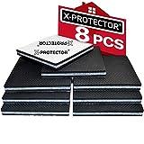 Patin antiderapant X-PROTECTOR – Patin caoutchouc Premium – 8 pcs 100 mm – Patin protection sole – Tampon adhésif – Patins caoutchouc autocollants – Protégez votre sol contre glissement des meubles !