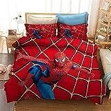 Goplnma - Parure de lit Spiderman Marvel Avengers avec housse de couette et taie d'oreiller, pour enfants et adultes, pour lit simple 200 x 200 cm, 2 personnes