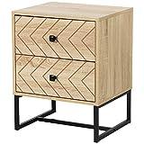 HOMCOM Table de Chevet Table de Nuit Style Graphique 48L x 39,5l x 60H cm 2 tiroirs métal Noir Panneaux Particules MDF Imitation Bois Clair