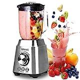 Duronic BL102 Blender / Mixeur électrique de 1000W en Inox | Carafe en verre de 1,5 Litre | 3 fonctions préenregistrées | Idéal pour smoothies, milkshakes, cocktails, glace pilée, fruits à coques