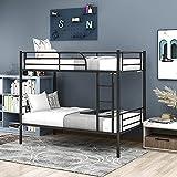 Wiboy Cadre de lit superposé simple en métal de 60 x 90 cm avec lattes solides, échelle et garde-corps de sécurité, séparé en 2 lits, pour enfants/adolescents/adultes, en noir, 90 x 190 cm