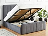 HOMIFAB Lit Coffre 140x190cm en Velours Gris Anthracite avec tête de lit + sommier à Lattes - Collection Bold