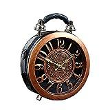 AAFLY Réveil sac à main de travail des femmes de mode Sac d'épaule diagonale Boîte cuir Vintage Horloge ronde personnalisé SteamPunk style sac Messenger (A)