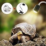 Lampe Reptiles Lampe Tortue Terrestre Chauffante pour Aquarium Éclairages 25W UVA UVB avec Base Longue 360° Rotation pour Reptiles et Amphibiens[Classe énergétique A +]