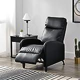 [en.casa] Fauteuil Relaxant avec Dossier Inclinable et Repose-Pieds Housse PU Similicuir Noir 102x60x92 cm