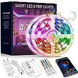 Beaeet Ruban LED 15M, Bande Lumineuse LED Multicolore 5050 RGB, Synchroniser avec Rythme de Musique, Ruban LED Bluetooth pour La Décoration de La Maison de Fête Chambre à Coucher Bar