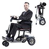 3 Roues pliable électrique Scooters de mobilité Fauteuil roulant portable pour personnes âgées adultes, fauteuil roulant léger pliant vélo main motorisé avec siège pour tout terrain voyages plein air