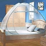 Moustiquaire de Lit Pliable, Digead Portable de voyage Moustiquaire, Porte simple Camping Mosquito Rideau, 100 * 200cm Moustiquaire en Forme de Dôme à Installation Facile - Jante bleue