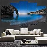 Toile de peinture HD imprimé peinture toile imprimée chambre 5 panneau belle vue mer paysage décoration encadrée affiche modulable image chambre enfant