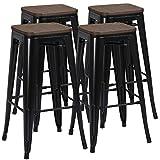 Yaheetech Lot de 4 Tabouret Bar Industriel Design Chaise Haute de Bar 76,5 cm Metal et Bois 150 kg pour Cuisine Bistrot Salle à Manger Intérieur et Extérieur