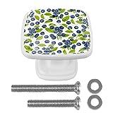 Blueberry Lot de 4 boutons de tiroir en cristal sans couture pour commode, tiroir, armoire