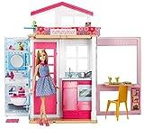 Barbie Mobilier coffret maison 2 étages et 4 pièces avec accessoires et une poupée inclus, jouet pour enfant, DVV48
