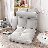 Élégant canapé pliable de sol multi-angle, chaise pliante de sol rembourrée réglable avec dossier pour la maison et le bureau, fauteuil relax pour méditation ou jeu (Gris)