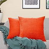 VERCART Housse de Coussin en Velours Côtelé Lot de 2 Doux Moderne Carré Décoratif Taie d'oreiller de Canapé pour Chambre à Coucher Salon Voiture Orange 45x45cm