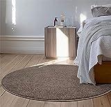 WJY Tapis Rond Chambre Table Basse Salon Etude Moquette Chaise Longue Vestiaire Tapis De Bain (Color : Brown, Size : 150cm)
