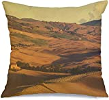 Taie d'oreiller Rural Val Tuscanyval Dorciao octobre 2015Cypress toscan Automne Landscaperetro Toscana Couleurs Nature Linen Toss Housse de coussin confortable pour chaise de voiture Canapé-lit 18 x 1