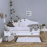 LULU MÖBEL Lit Enfant Sophie 180x80 cm. Complet avec Matelas et tiroir en Noix de Coco de 10 cm. Blanc (White, 180x80)