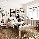 Lit Haut 120x200 cm Triin avec Sommier à Lattes – Cadre de Lit Simple 55сm Haut en Bois de Bouleau stratifié - Supporte jusqu'à 700 kg - Style Scandinave