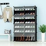 PREMAG Range-Chaussures portatif, Noir avec Portes Transparentes, Tablette modulaire pour Gagner de la Place, Porte-Chaussures pour Chaussures, Bottes, Pantoufles 2 * 7