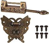 Verrou vintage chinois sculpté en forme d'oiseau avec clé et loquet papillon et vis pour armoire, boîte à bijoux, boîte cadeau