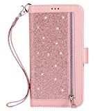 Uposao pour Huawei P20 Lite Glitter Coque,PU Premium Etui Housse en Cuir Portefeuille de Protection Coque a Rabat Magnetic Fermeture,Multi-Usage 9 Carte Slot,Support Stand Coque Huawei P20 Lite,Rose