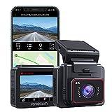 KINGSLIM D5 Dashcam 4K, GPS & WiFi Intégrés, Caméra de Bord Discrète avec Écran IPS 2'', Caméra Voiture Embarquée Super Vision Nocturne, 170° Grand Angle, WDR, G-Senseur, Support jusqu'à 256GB