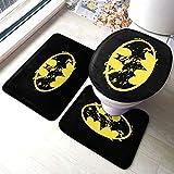 Batman Tapis de sol antidérapant pour salle de bain (3 ensembles) doux absorbant épais confortable en microfibre et tapis de toilettes en forme de U