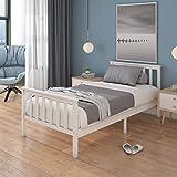 Panana Lit Simple Adult en Bois 1 Place Comfort 196 x 98 x 82 cm, Blanc