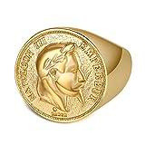 BOBIJOO Jewelry - Chevalière Bague Napoleon Pièce 20 Francs Tête Laurée Plaqué Doré Acier Or Louis - 68 (12 US), Doré Or Fin - Acier Inoxydable 316