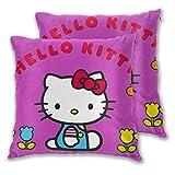 MISS-YAN Lot de 2 housses de coussin Hello Kitty avec fleurs décoratives pour lit/chaise/canapé