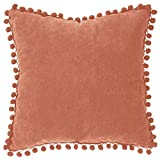 Atmosphera - Coussin déhoussable à Pompons 40x40 cm Terracotta