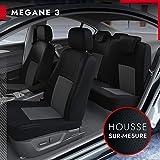 DBS - Housses de siège sur Mesure pour Megane 3 (11/2008 à 2021)   Housse Voiture/Auto d'intérieur   Haut de Gamme   Jeu Complet en Tissu   Montage Rapide
