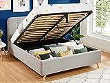 HOMIFAB Lit Coffre 140x190 Gris Clair avec tête de lit et sommier à Lattes relevable - Collection Léo