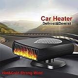 Kit de chauffage de voiture portable Riloer 2 en 1, dégivreur de chauffage rapide, ventilateur de refroidissement de voiture chaud et froid rafraîchissement d'air avec prise allume-cigare 12V
