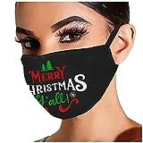 YUYOUG 𝐌𝐚𝐬𝐪𝐮𝐞 Femme Homme Original Noir Strass Noël Motif Anti-poussières Protection Face Écharpe, Reutilisables Lavables Tissu pour Unisex Adulte Adolescents, Impression de Lettres de Noël