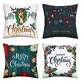pendali Lot de 4 Housses de Coussin de Noël, Taie d'oreiller en Lin de Coton Noël, Housses de Coussin de Noël pour Décoratifs Canapé Chambre Coucher, Noël Taie d'oreiller Décor, 45x45cm (Foncé Vert)