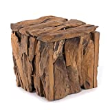 Banc en bois de teck 30 - 30 x 30 x 30 cm (H x l x P) - En bois recyclé érodé - Tabouret en bois naturel - Design shabby