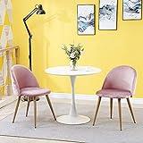 OFCASA Lot de 2 Chaise de Cuisine Chaise Salle à Manger Velours Rembourrée Assise avec Pieds métal 2 chaises Rose